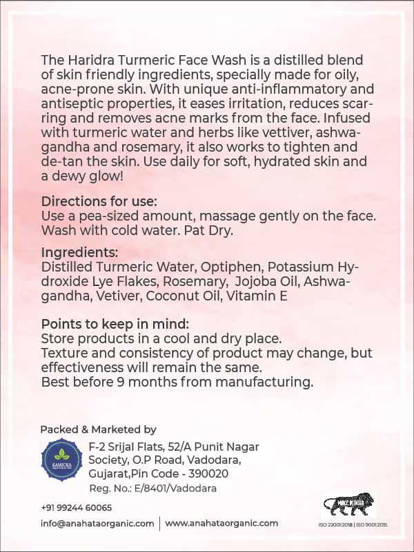 Haridra Turmeric Face Wash | Organic Face Wash | Skin Care Products