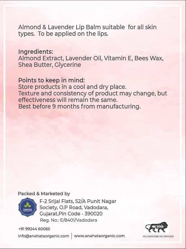 Almond and Lavender Lip Balm | Organic Lavender | Skincare