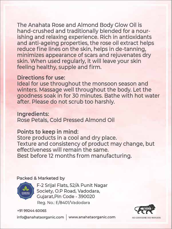 Rose and Almond Body Oil | Organic Body Oil | Organic Rose Oil