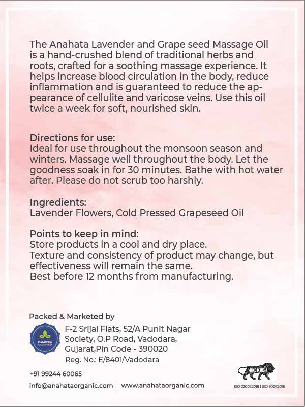 Lavender Grape seed massage oil